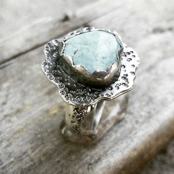 Light Blue Robins Egg Turquoise Cocktail Ring -  Size 8 - Ready to Ship - Boho cowgirl Art Artisan jewelry. One of a Kind -OOAK