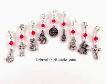 Jesus Rosary Marker Charms In Siam Red Czech Glass by Unbreakable Rosaries | Prague, Divine Infant, Good Shepherd, Sacred Heart, Nativity