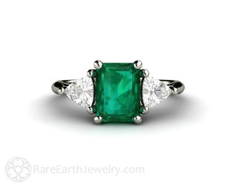 Emerald Engagement Ring Vintage Emerald Ring White Sapphire Trillions 3 Stone Three Stone 14K or 18K Gold or Platinum