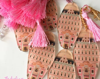 """The Grand Budapest Hotel - Hotel Room Key Ring - Wes Anderson """"darling sweet life"""" 2017 - laser cut"""