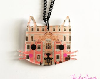 "Grand Budapest Hotel KITTY ""darling kitties"" 2017 laser cut silkscreen print necklace, plexiglass, acrylic, perspex"
