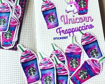 Unicorn Frappuccino coffee Starbucks planner Stickers (set of 12) illustration, watercolor drawing, planner decoration, hobonichi