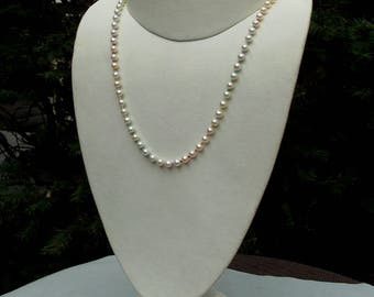 Cultured freshwater pearl LGBTQ necklace hand knotted on silk 19 inches