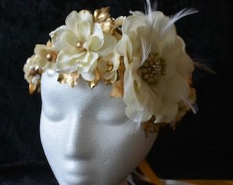 Bridal Flower Crown,  Flower Crown, Ivory Flower Crown, Cream, Vintage, Wedding Headpiece, Gold Bridal Headpiece, Feather, Victorian
