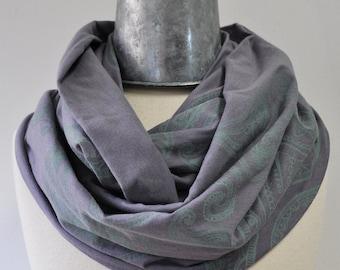 SALE Infinity scarf Screenprinted paisley design Organic cotton bamboo fabric