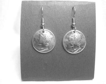Antique silver Mercury dime earrings-domed-Classic! made in the USA
