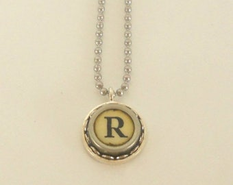 SALE Typewriter Key Necklace, Letter R , Vintage, Initial Jewelry,  All Letters Available, Typography Jewelry,