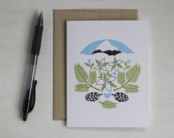 Mountain Letterpress Blank Card, Oregon Forest, Anniversary Card, Engagement, Wedding, Woodland Love Card, Trillium, Mt. Hood, Wildflowers