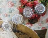 Five Vintage Czech AB Glass Buttons ... Aurora Borealis Glass Buttons,Transparent, Clear