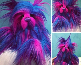Firework - long haired teddy KIT - make your own 12IN fluffy faux fur artist bear