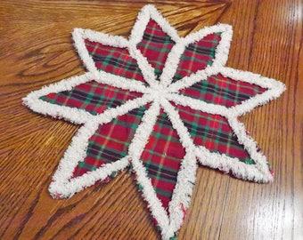 Rag Quilt Trivet - Candle Mat - Christmas Plaid Snowflake Trivet - Homespun Trivet - Homespun Candle Mat - Table Decor - Christmas