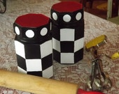 Canisters Hand Painted Whimsical Checks Glass Storage Kitchen Decor Home Decor Organization
