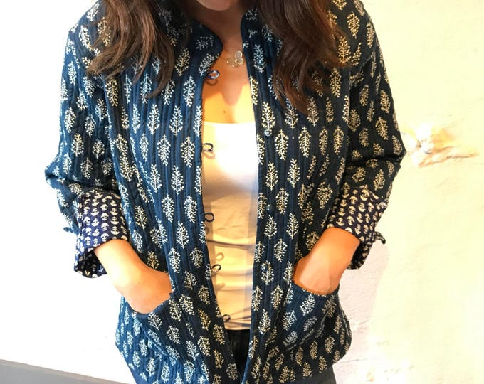 Quilted cotton reversible block print jacket
