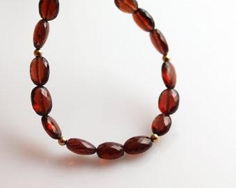 Garnet Bead Necklace - Adjustable - Garnet Necklace - Gorgeous Ovals