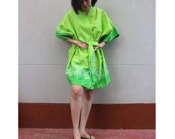 Green Flower Kimono Thai Batik Floral Short Bridesmaid Bath Robe S - L (R01)