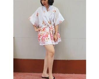 White Flower Kimono Thai Batik Floral Short Bridesmaid Bath Robe S - L (R07)