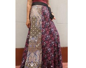 Handmade 8 Pieces floral Thai batik Sarong patchwork long comfortable  wear wrap skirt fit all size (BT 02)