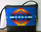 Wool Cross Body Bag Purse Shoulder Bag Black Leather Native American Print from Pendleton Oregon Southwest Style