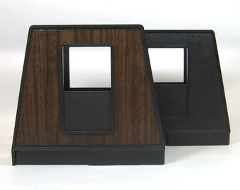 Two Pairs of Rogers Plastic Office Organizers File Holders Black Woodgrain Faux Bois