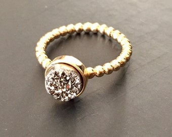 Dara Ettinger VICTORIA Druzy Ring in 14kt Gold/ Silver sz 6.5