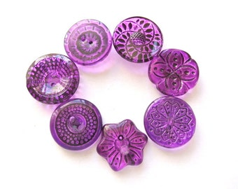 7 Vintage Czech glass buttons, 7 flowers and unique designs hand painted in violet