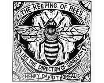 Bee Print Art, Bee Woodcut Print Wall Art, Bee Henry David Thoreau Woodcut Print on Paper