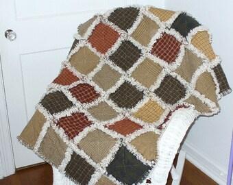 Rag Quilt Kit, DIY Rag Quilt, Prefringed Rag Quilt Kit, Large Throw size Rag Quilt, Homespun Rag Quilt, We Cut You Sew
