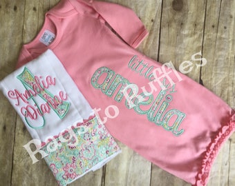 Baby Girl Monogrammed Gown- Baby Girl Coming Home Outfit - Newborn Girl Personalized Baby Gown- Monogrammed Burp Cloth