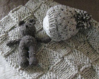 Newborn Photo Prop or Gift Set-Layering Blanket or Stroller Blanket, Pom Pom Hat and Bear Stuffie