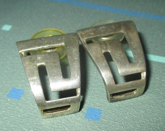 Vintage Sterling Silver Geometric Line Design Earrings Signed 925