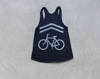 SALE Bicycle tank top for women. Workout tank top tshirt. Women's graphic tee. Bike lane screenprint by Blackbird Tees - CLOSEOUT