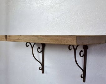 "Deep wall shelf reclaimed barnwood 24"" long,10.75"" deep and 10.5"" tall with brackets"