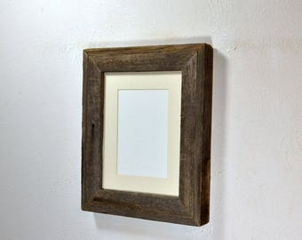 Picture frame gallery style 5 x 7 or 8 x 6 mat in 8x10 frame from rustic reclaimed wood ready to ship free shipping