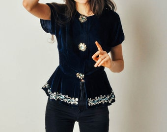 Vintage Blue Velvet Sequin Top