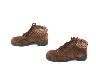 size 7 GRUNGE brown suede leather 80s 90s SWEATER CUFF lace up ankle boots