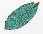 4 pcs of Antique Brass Bluing  leaf pendant 20x50mm