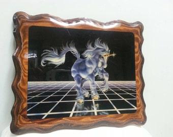 Amazing Vintage 80s Unicorn Tron Plaque Picture