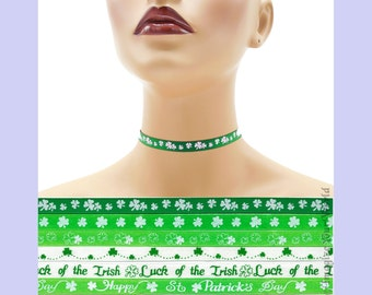 Custom St. Patrick's Day Choker 3/8 inch wide Shamrocks Luck of the Irish  Green Clover Lucky Happy Saint Paddy's ( 10 mm width) Your Size