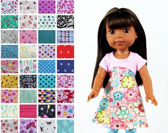 Fits like Wellie Wishers Doll Clothes - The Tri-City Dress, You Choose Print | 14.5 Inch Doll Clothes