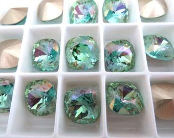 2 Aqua Champagne Swarovski Crystal Square Cushion Cut Stone 4470 12mm