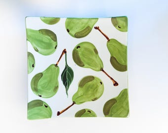 Serving Tray READY to SHIP Ceramic Tray Square Tray Pear Medium Square Minimalist Tray Green Pottery Appetizer Tray Hostess Gift for Her P
