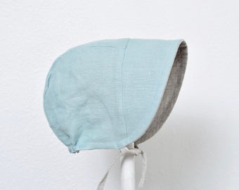 Reversible Baby Bonnet Sun Hat Eco-friendly Meadow Blue Washed Linen