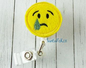 SAD Emoji Felt Badge Holder with Retractable Reel handmade by SantaFeKiss