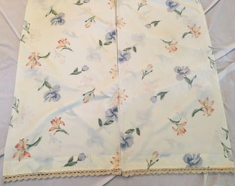 2  Vintage Pillowcases King Size Floral Ivory with Pink and Blue Flowers Crocheted Ivory trim Shabby Chic