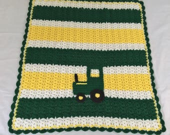 Crocheted Shell Stitch John Deere Colors Yellow Green White Tractor 29X31  Baby Blanket Lap Blanket Adult Boy Girl   Acrylic Baby Gift Warm