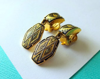 Vintage Spanish Damascene Clip Earrings