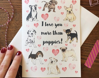 Dog Card. Puppy Card. Card with Puppies. Same sex card. Card for her. Card for him. Anniversary Card. Love Card. Blank Card. Dog lover