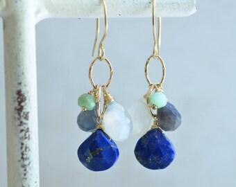 14kt Gold Lapis Lazuli Earrings - Blue Sapphire Earrings - Mixed Stone Earrings - Gold Link Earrings Earrings - Gemstone Cluster Earrings