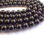 6mm Round Black Tourmaline Semi Precious Gemstone Beads - Half Strand