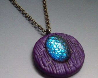 EasterSale Pendant Polymer Clay Purple with Snakeskin Cabochon
